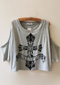 Grey Print Short Sleeve T-Shirt