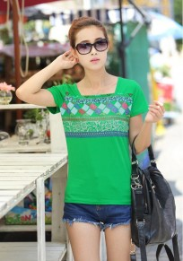 Green Print Short Sleeve T-Shirt