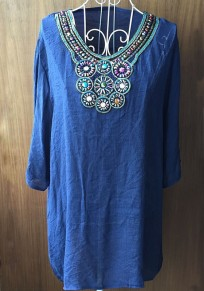 Blue Plain Embroidery Beading Pleated Elbow Sleeve T-Shirt