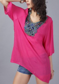 Rose-Carmine Plain Embroidery Beading Pleated Elbow Sleeve T-Shirt
