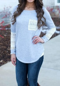 Grey Patchwork Lace Pockets Casual Long Sleeve T-Shirt