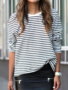 White Striped Long Sleeve Fashion T-Shirt