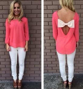 Pink Plain Bow Back Backless Long Sleeve Fashion T-Shirt