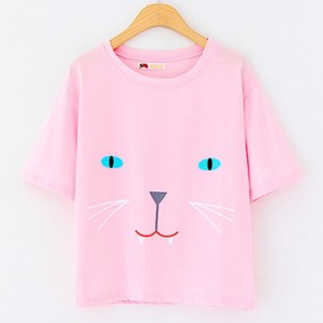 Pink Fashion Cat Print Short Sleeve Kawaii Women Cotton T-Shirt