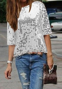 White Sequin Round Neck Elbow Sleeve Sparkly Clubwear NYE Party Top T-Shirt