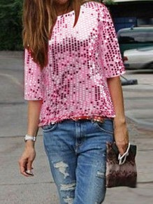 Pink Plain Sequin Round Neck Short Sleeve Fashion T-Shirt