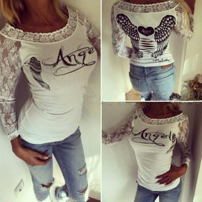 White Patchwork Lace Hollow-out Round Neck Fashion T-Shirt
