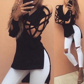 Black Plain Cut Out Irregular V-neck Long Sleeve T-Shirt