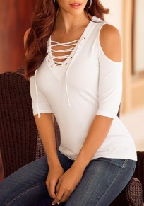 White Plain Drawstring Lace Up V-neck Off Shoulder Short Sleeve Casual T-Shirt