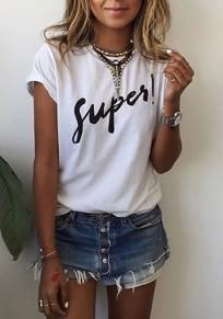 White Monogram Round Neck Short Sleeve Loose Casual T-Shirt