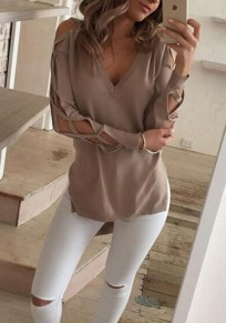 Khaki Plain Cut Out Irregular V-neck Long Sleeve T-Shirt