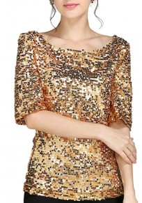 Golden Glitter Sparkly Gold Sequin Top Plus Size Short Sleeve Clubwear Party T-Shirt