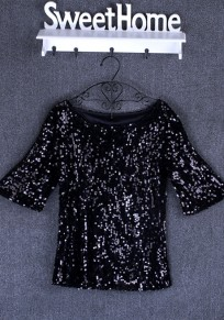 Black Plain Sequin Round Neck Elbow Sleeve Plus Size Fashion T-Shirt