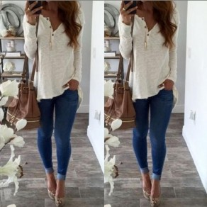 White Plain Irregular Buttons Long Sleeve Loose T-Shirt