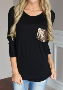 Black Patchwork Pockets Sequin Long Sleeve Loose T-Shirt