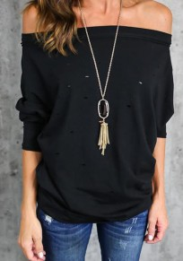 Black Distressed Hollow-out Off Shoulder Fashion Polyester T-Shirt