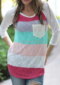 White Patchwork Pattern Round Neck Casual Cotton T-Shirt