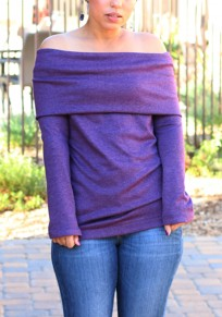 Purple Plain Double-deck Boat Neck Long Sleeve T-Shirt