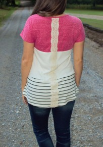 Multicolor Color Block Striped Print Lace Round Neck Long Sleeve Casual T-Shirt