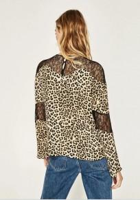 Leopard Patchwork Grenadine Round Neck Fashion Cotton Blend T-Shirt