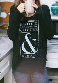 Maglietta motivo monogramma girocollo cotone abbigliamento di strada nero
