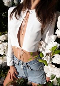 White Plain Crop Round Neck Fashion Polyester T-Shirt