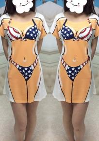 Blue American Flag Bikini Print Round Neck Casual T-Shirt