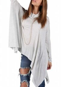 Light Grey Plain Irregular Draped Band Collar Cowl Neck Oversized Casual T-Shirt