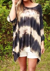 Black Color Block Irregular Round Neck Streetwear Polyester T-Shirt