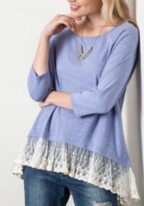 Light Blue Patchwork Lace Draped Irregular Peplum 3/4 Sleeve Cute T-Shirt