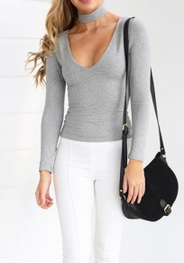 Grey Plain Cut Out Zipper Halter Neck Band Collar Casual T-Shirt