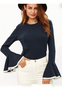 Blue And White Patchwork Peplum Ruffle Round Neck Flare Sleeve Slim T-Shirt