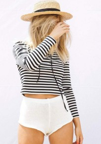 White-Black Striped Hollow-out Lace-up V-neck Long Sleeve Casual Crop T-Shirt