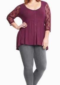 Burgundy Patchwork Lace Hollow-out Single Breasted Draped 3/4 Sleeve Casual T-Shirt