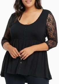 Black Patchwork Lace Hollow-out Single Breasted Draped 3/4 Sleeve Casual T-Shirt