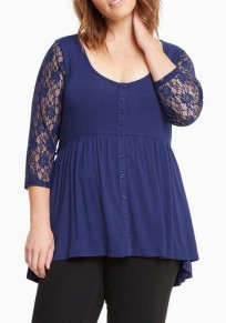 Blue Patchwork Lace Hollow-out Single Breasted Draped 3/4 Sleeve Casual T-Shirt
