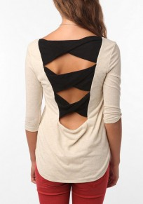 Beige Patchwork Cut Out Elbow Sleeve Loose T-Shirt