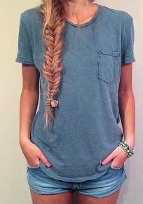 Camiseta llanura bolsillos cuello redondo informal gris