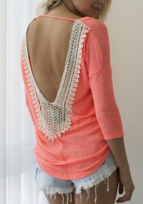 Pink Patchwork Lace Backless Round Neck Fashion T-Shirt