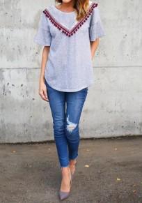 Camiseta irregulares cuello redondo manga corta gris