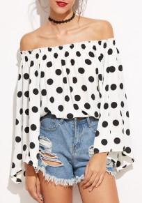White Polka Dot Draped Boat Neck Off-Shoulder Flare Sleeve Oversized Cute T-Shirt