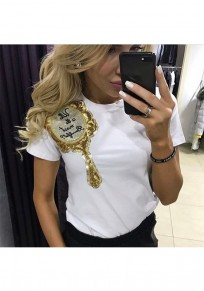 White Cartoon Witch Mirror Print Sequin Round Neck T-Shirt