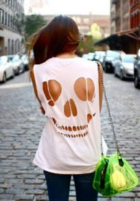 White Skull Cut Out Round Neck Short Sleeve Sexy T-Shirt