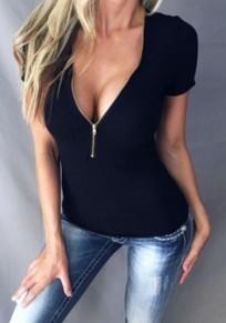 Black Plain Zipper Plunging Neckline Short Sleeve T-Shirt