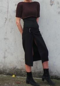 Wine Red Plain Crop Semicircular Fashion Cotton T-Shirt