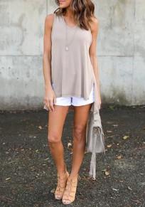 Khaki Plain Irregular Hooded Sleeveless Slim Casual T-Shirt