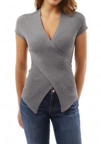 T-shirt uni irrégulier v-cou manches courtes occasionnel gris