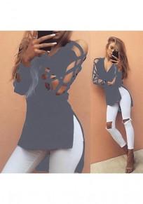 Grey Plain Cut Out V-neck Fashion Cotton T-Shirt