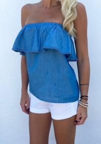 Blue Plain Ruffle Boat Neck Casual Loose T-Shirt