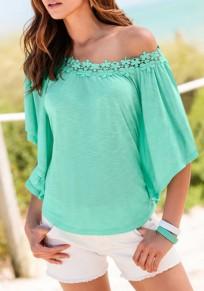 Green Plain Lace Comfy Half Sleeve Dolman Sleeve Casual T-Shirt